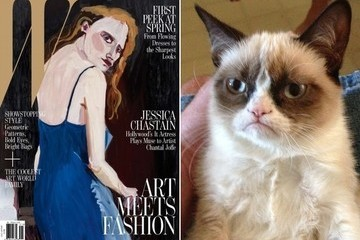 Separated at Birth: Jessica Chastain's W Cover and Grumpy Cat?