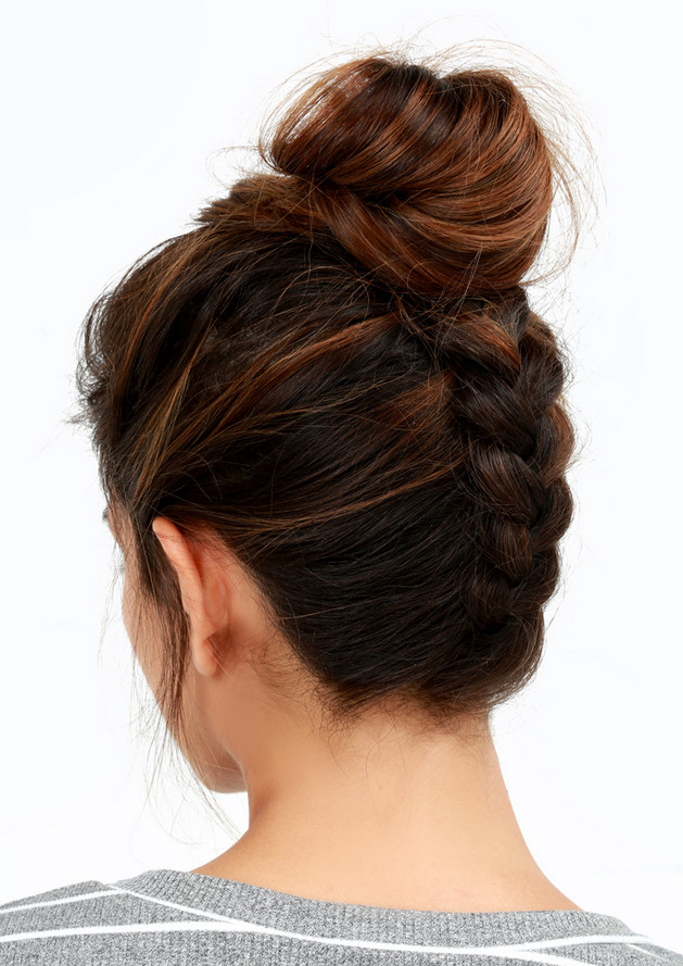 Reverse Braided Bun Easy Back To School Hairstyles To