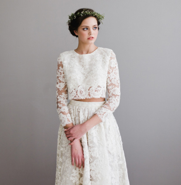 Elegant 2 Piece Wedding Dresses : Long sleeve lace modern and elegant two piece wedding