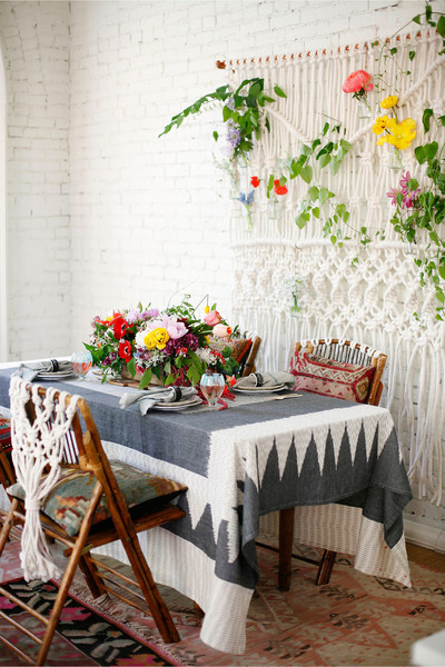 Flower Adorned Place Setting and Wall Hanging