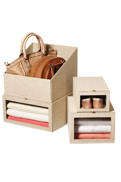 Store Your Purses In Linen Boxes