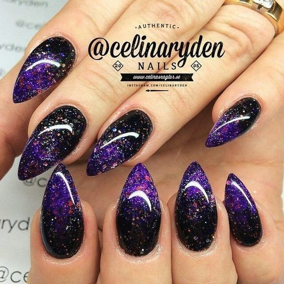 Black + Purple Ombré - Halloween Nails So Cool They'll ...