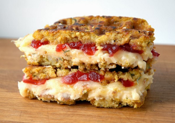 Munster, Mashed Potatoes & Cranberry Stuffing Grilled Cheese