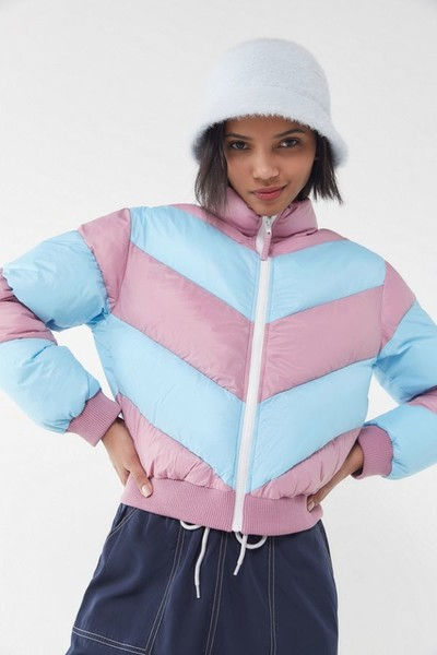 Chevron Cropped Puffer Jacket