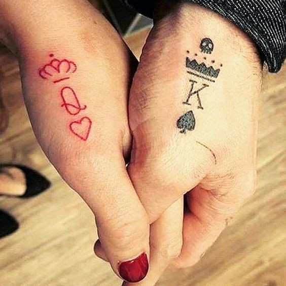 Queen king matching tattoos for couples that truly for Matching king and queen tattoos