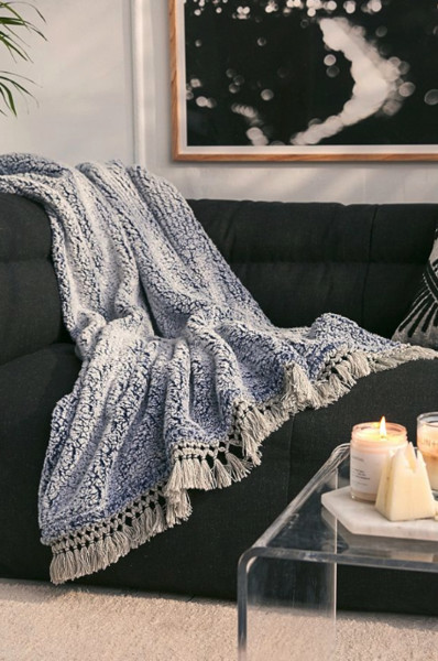 Fleece Fringe Trim Throw Blanket