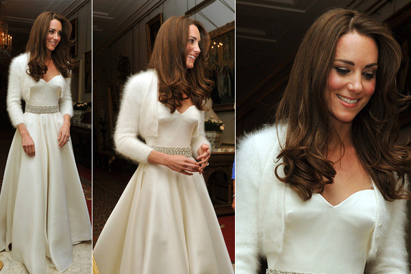 Kate middleton shows off second alexander mcqueen gown for for White after wedding party dress
