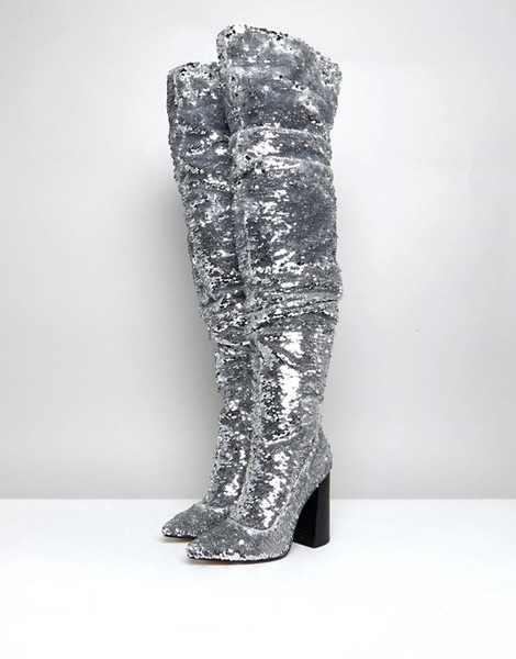 Sequin Over The Knee Boots