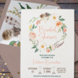 Painted Feather and Flower Invites