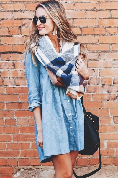 Pair a Scarf and Shirt Dress