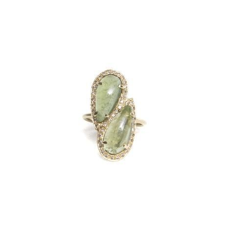 Green Tourmaline Twin Teardrop Ring