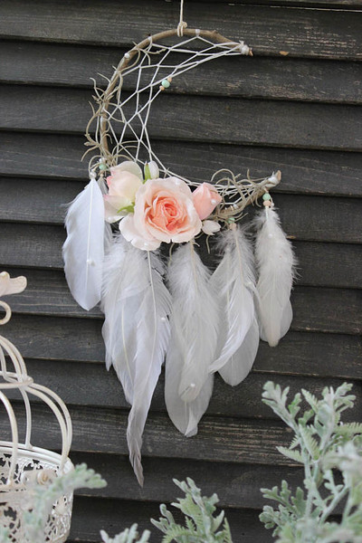 Feather and Rose Dream Catcher