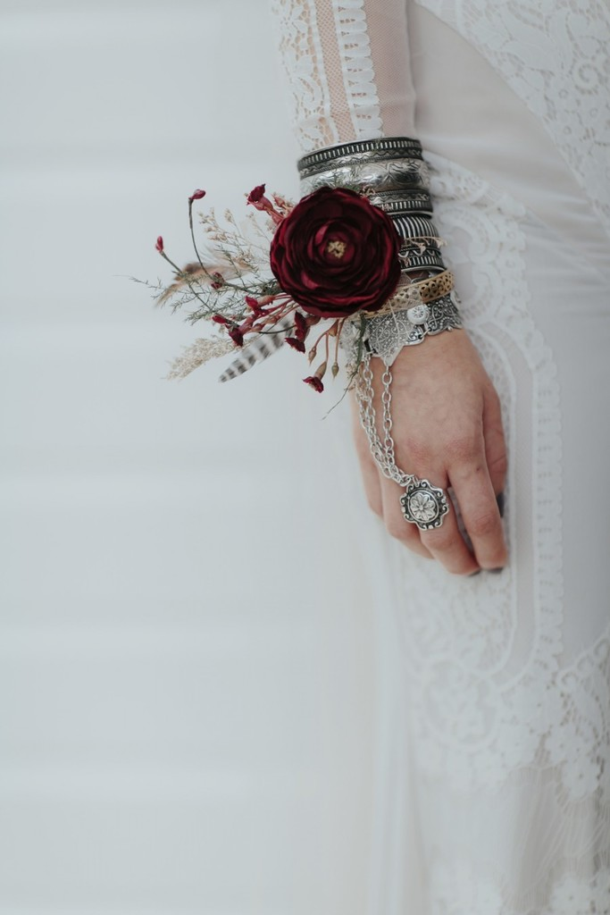 Bohemian Burgundy And Feathers These Wrist Corsages Will