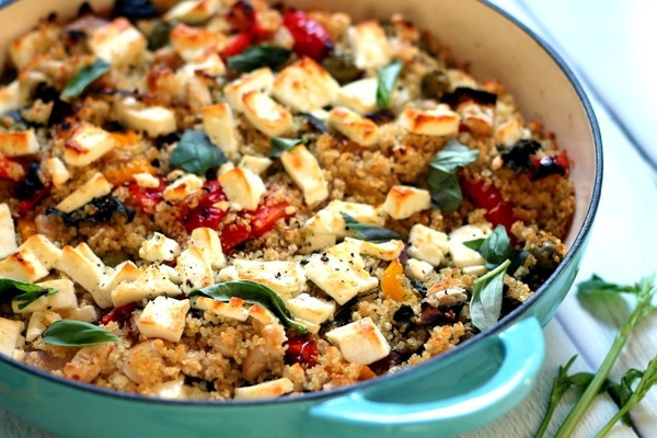 Roasted Vegetable and Feta Cheese Quinoa Bake