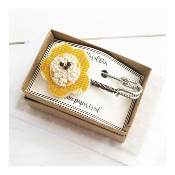 Yellow Embroidered Fabric Safety Pin
