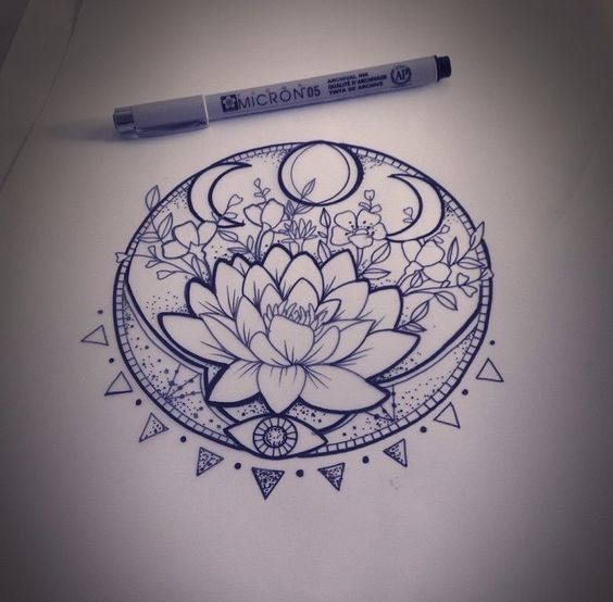 Lunar phase lotus prettiest mandala tattoos on pinterest livingly - Tatouage lune soleil ...