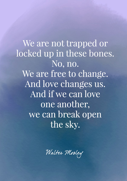 We are not trapped or locked up in these bones. No, no. We are free to change. And love changes us. And if we can love one another, we can break open the sky. - Walter Mosley
