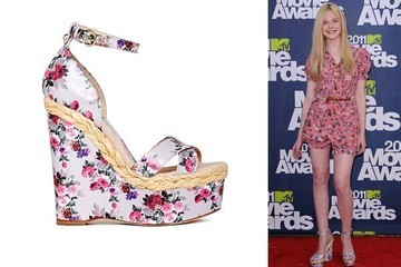 Elle Fanning Embraces Spring in Floral Wedges