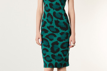 FOUND: Estelle's Green Leopard-Print Midi Dress
