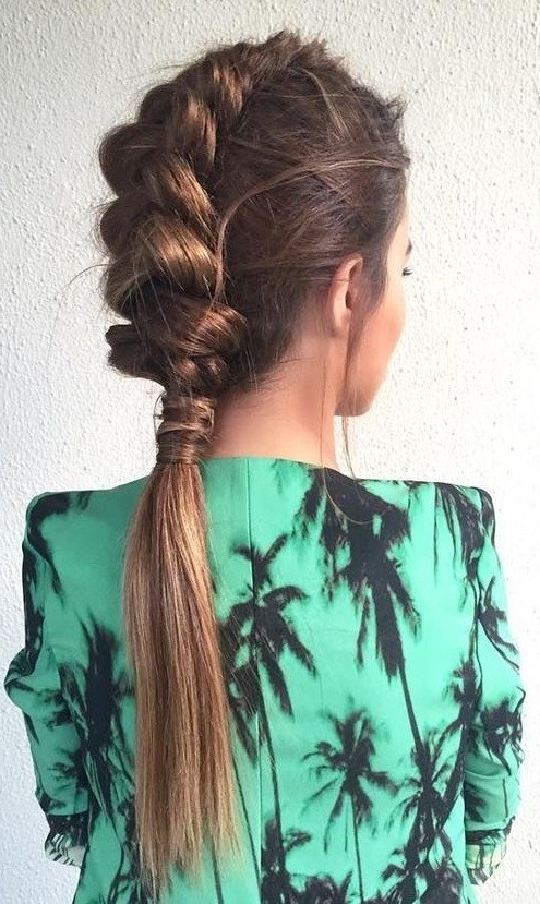 Loose Dutch Braid Ponytail.