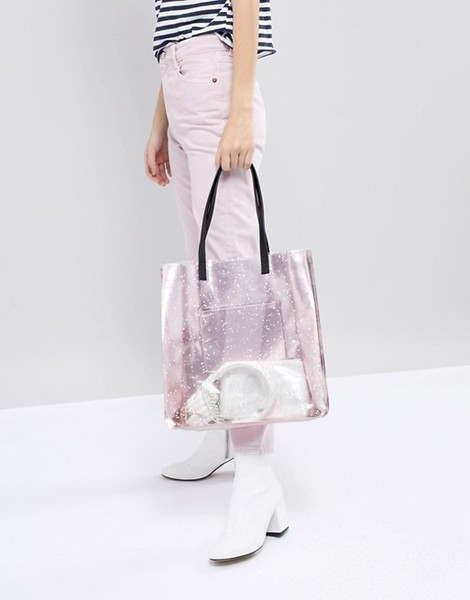 Skinnydip Rose Gold Star Glitter Tote Bag