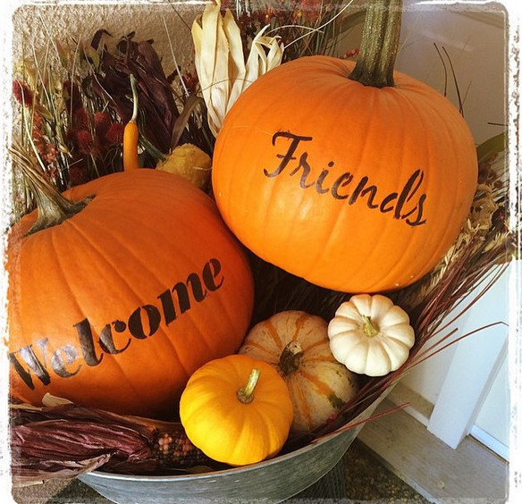 Stenciled Welcome Pumpkins