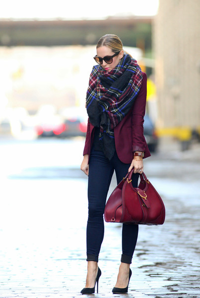 Maroon Blazer and Thick Scarf