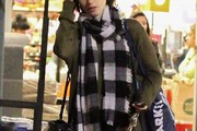 Lily Collins Patterned Scarf