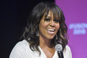 Michelle Obama Medium Wavy Cut with Bangs